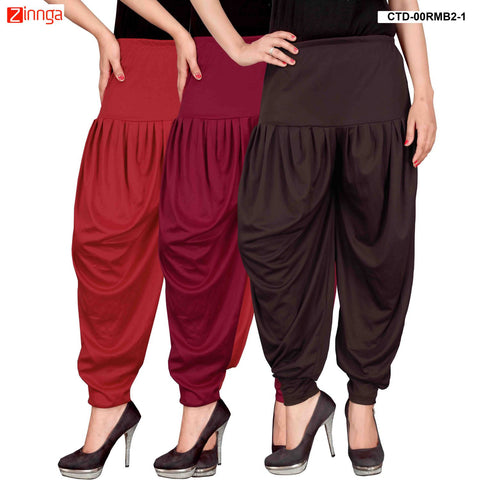 CULTURE THE DIGNITY-Women's Stylish CasualWear Lycra Patiala Pants(Pack Of 3) - ctd-00RMB2-1