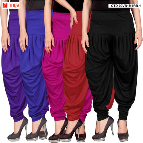 CULTURE THE DIGNITY-Women's Stylish CasualWear Lycra Patiala Pants(Pack Of 5) - ctd-00VB1M1RB-1