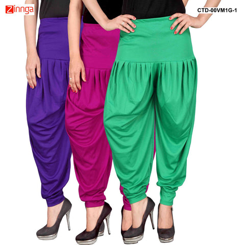 CULTURE THE DIGNITY-Women's Stylish CasualWear Lycra Patiala Pants(Pack Of 3) - ctd-00VM1G-1