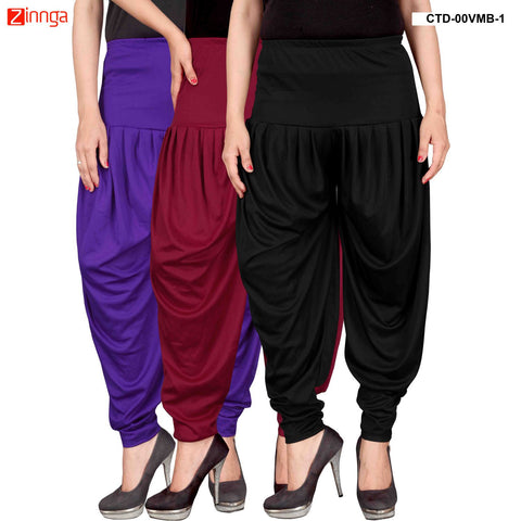 CULTURE THE DIGNITY-Women's Stylish CasualWear Lycra Patiala Pants(Pack Of 3) - ctd-00VMB-1