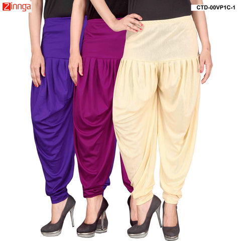 CULTURE THE DIGNITY-Women's Stylish CasualWear Lycra Patiala Pants(Pack Of 3) - ctd-00VP1C-1