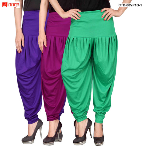 CULTURE THE DIGNITY-Women's Stylish CasualWear Lycra Patiala Pants(Pack Of 3) - ctd-00VP1G-1