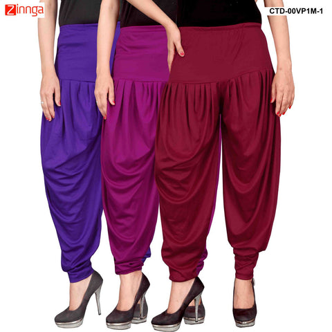 CULTURE THE DIGNITY-Women's Stylish CasualWear Lycra Patiala Pants(Pack Of 3) - ctd-00VP1M-1