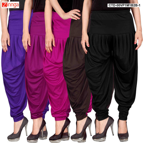 CULTURE THE DIGNITY-Women's Stylish CasualWear Lycra Patiala Pants(Pack Of 5) - ctd-00VP1M1B2B-1