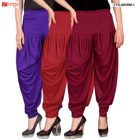 CULTURE THE DIGNITY-Women's Stylish CasualWear Lycra Patiala Pants(Pack Of 3) - ctd-00VRM-1