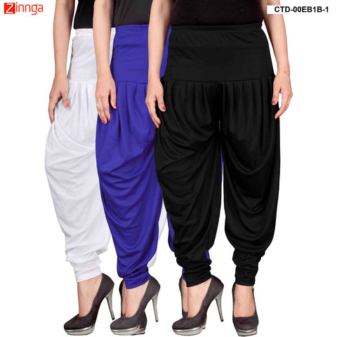 CULTURE THE DIGNITY-Women's Stylish CasualWear Lycra Patiala Pants(Pack Of 3) - ctd-00WB1B-1