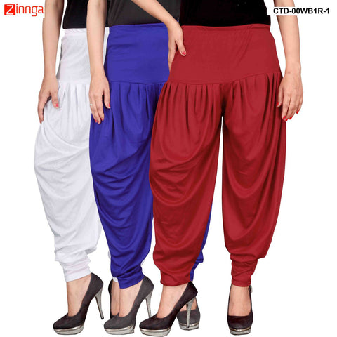 CULTURE THE DIGNITY-Women's Stylish CasualWear Lycra Patiala Pants(Pack Of 3) - ctd-00WB1R-1