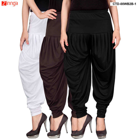 CULTURE THE DIGNITY-Women's Stylish CasualWear Lycra Patiala Pants(Pack Of 3) - ctd-00WB2B-1
