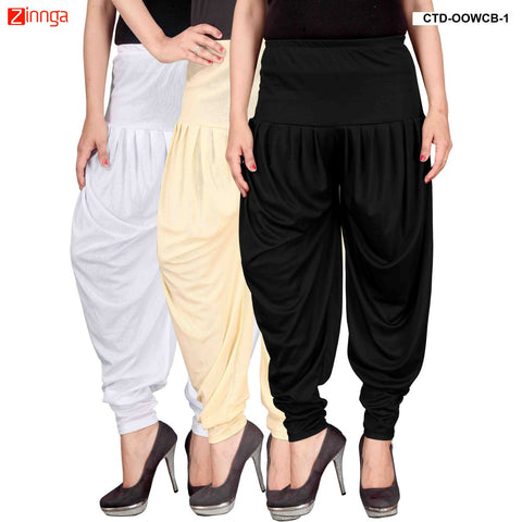 CULTURE THE DIGNITY-Women's Stylish CasualWear Lycra Patiala Pants(Pack Of 3) - ctd-00WCB-1