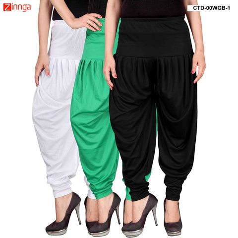 CULTURE THE DIGNITY-Women's Stylish CasualWear Lycra Patiala Pants(Pack Of 3) - ctd-00WGB-1