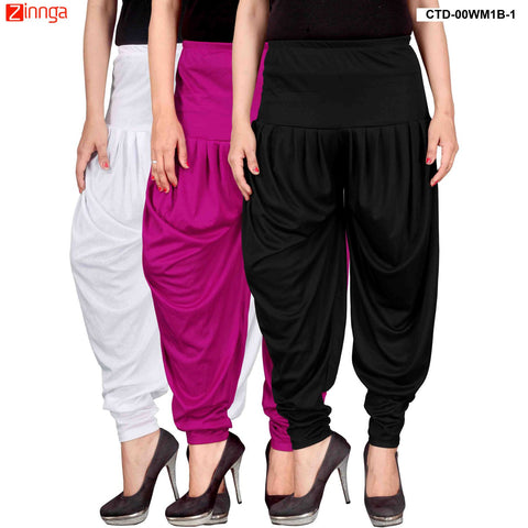 CULTURE THE DIGNITY-Women's Stylish CasualWear Lycra Patiala Pants(Pack Of 3) - ctd-00WM1B-1