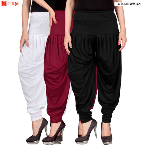 CULTURE THE DIGNITY-Women's Stylish CasualWear Lycra Patiala Pants(Pack Of 3) - ctd-00WMB-1
