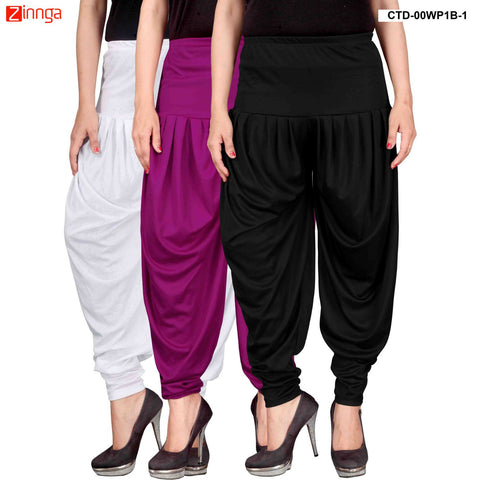 CULTURE THE DIGNITY-Women's Stylish CasualWear Lycra Patiala Pants(Pack Of 3) - ctd-00WP1B-1