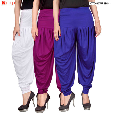 CULTURE THE DIGNITY-Women's Stylish CasualWear Lycra Patiala Pants(Pack Of 3) - ctd-00WP1B1-1