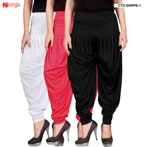 CULTURE THE DIGNITY-Women's Stylish CasualWear Lycra Patiala Pants(Pack Of 3) - ctd-00WPB-1