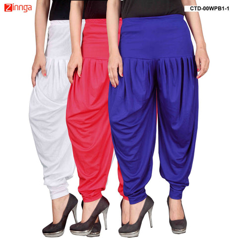 CULTURE THE DIGNITY-Women's Stylish CasualWear Lycra Patiala Pants(Pack Of 3) - ctd-00WPB1-1