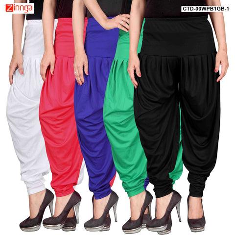 CULTURE THE DIGNITY-Women's Stylish CasualWear Lycra Patiala Pants(Pack Of 5) - ctd-00WPB1GB-1