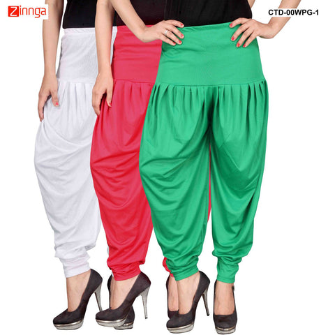 CULTURE THE DIGNITY-Women's Stylish CasualWear Lycra Patiala Pants(Pack Of 3) - ctd-00WPG-1