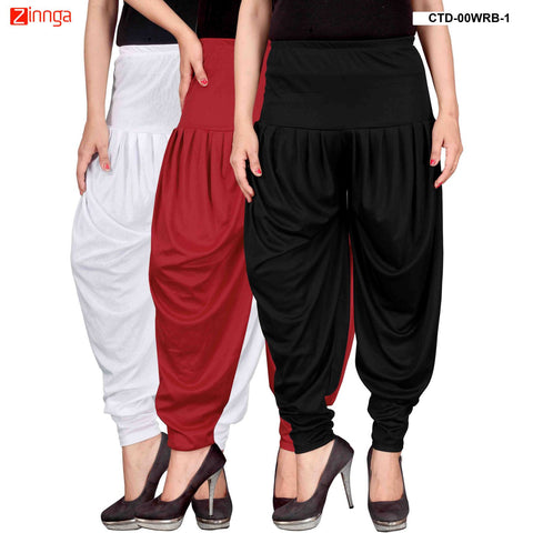 CULTURE THE DIGNITY-Women's Stylish CasualWear Lycra Patiala Pants(Pack Of 3) - ctd-00WRB-1