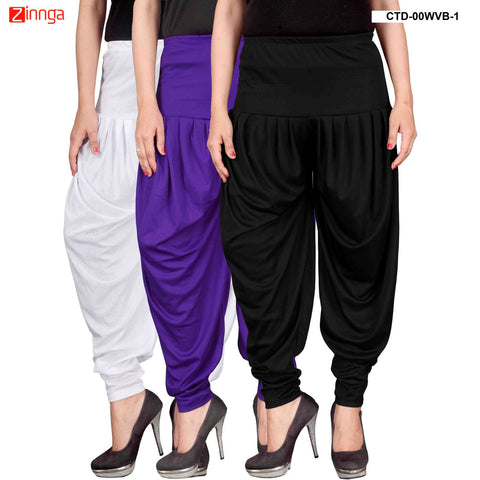 CULTURE THE DIGNITY-Women's Stylish CasualWear Lycra Patiala Pants(Pack Of 3) - ctd-00WVB-1