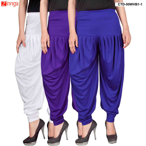 CULTURE THE DIGNITY-Women's Stylish CasualWear Lycra Patiala Pants(Pack Of 3) - ctd-00WVB1-1