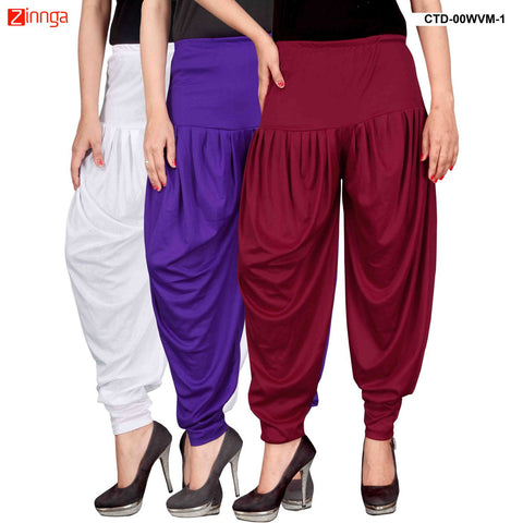 CULTURE THE DIGNITY-Women's Stylish CasualWear Lycra Patiala Pants(Pack Of 3) - ctd-00WVM-1