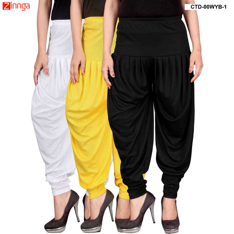 CULTURE THE DIGNITY-Women's Stylish CasualWear Lycra Patiala Pants(Pack Of 3) - ctd-00WYB-1
