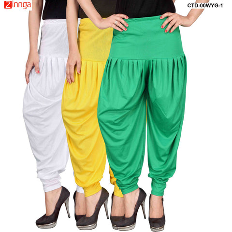 CULTURE THE DIGNITY-Women's Stylish CasualWear Lycra Patiala Pants(Pack Of 3) - ctd-00WYG-1
