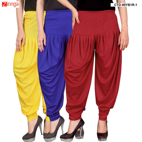 CULTURE THE DIGNITY-Women's Stylish CasualWear Lycra Patiala Pants(Pack Of 3) - ctd-00YB1R-1