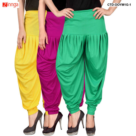 CULTURE THE DIGNITY-Women's Stylish CasualWear Lycra Patiala Pants(Pack Of 3) - ctd-00YM1G-1