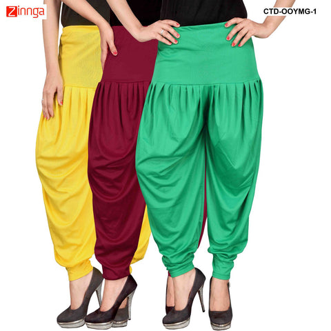 CULTURE THE DIGNITY-Women's Stylish CasualWear Lycra Patiala Pants(Pack Of 3) - ctd-00YMG-1