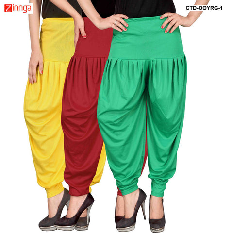 CULTURE THE DIGNITY-Women's Stylish CasualWear Lycra Patiala Pants(Pack Of 3) - ctd-00YRG-1
