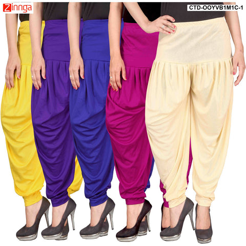 CULTURE THE DIGNITY-Women's Stylish CasualWear Lycra Patiala Pants(Pack Of 5) - ctd-00YVB1M1C-1