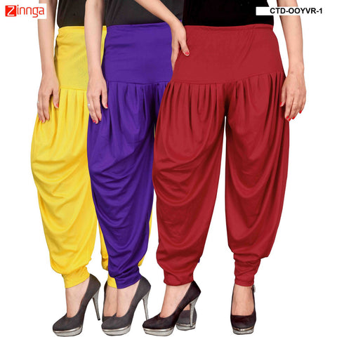 CULTURE THE DIGNITY-Women's Stylish CasualWear Lycra Patiala Pants(Pack Of 3) - ctd-00YVR-1