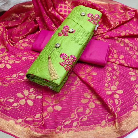 Green And Rani Pink Color  Glaze Cotton Dress - d-15