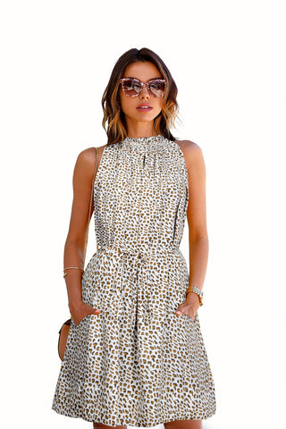 cream Color Crepe Women's Dress - d-175_cruze_leopard