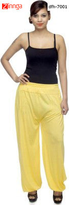 DEEFASHIONHOUSE-Women's Beautfiul  EthnicWear Yellow Viscose Lycra  Sticthed Harem Pants - dfh-7001