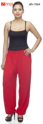 DEEFASHIONHOUSE-Women's Beautfiul  EthnicWear Red Viscose Lycra Sticthed Harem Pants - dfh-7004