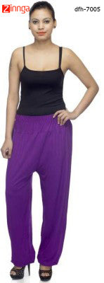 DEEFASHIONHOUSE-Women's Beautfiul  EthnicWear Purple Viscose Lycra  Sticthed Harem Pants - dfh-7005