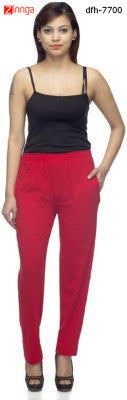 DEE FASHION HOUSE-Women's Red Cotton Lycra Lower- dfh-7700