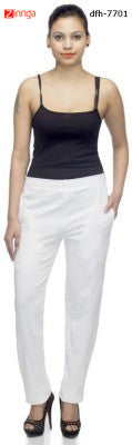 DEEFASHIONHOUSE-Women's White Cotton Lycra Lower- dfh-7701