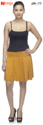 DEEFASHIONHOUSE-Women's WestrenWear Gold Viscose Lycra Sticthed Pleated Skirt - dfh-77