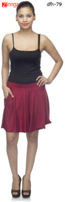 DEEFASHIONHOUSE-Women's WestrenWear Maroon Viscose Lycra Sticthed Pleated Skirt - dfh-79
