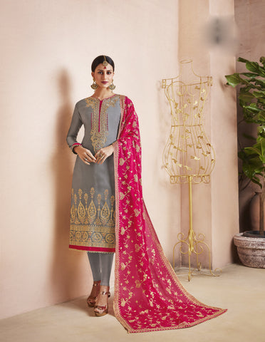 Grey Color Georgette Satin Semi-Stitched Salwar  - dimpy-208