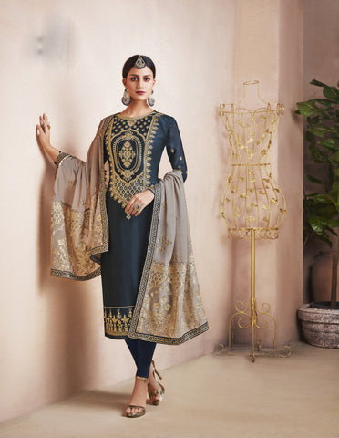 Dark Grey Color Georgette Satin Semi-Stitched Salwar  - dimpy-209