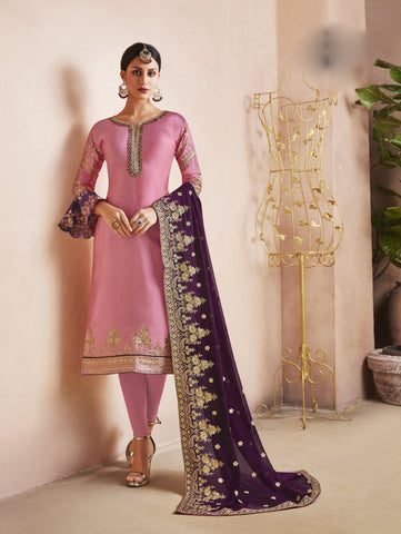 Pink Color Georgette Satin Semi-Stitched Salwar  - dimpy-210