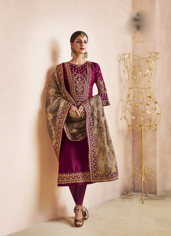 Purple Color Georgette Satin Semi-Stitched Salwar  - dimpy-211
