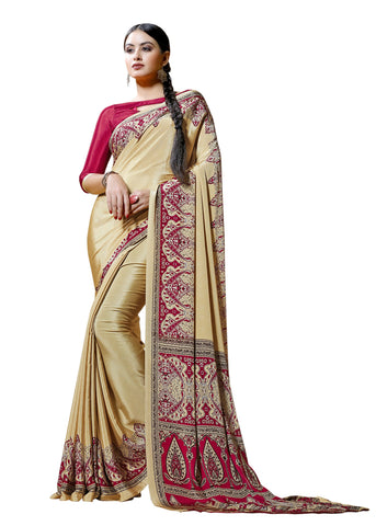 Copper Color Crepe Mix and  Match Saree  - divine-7601a