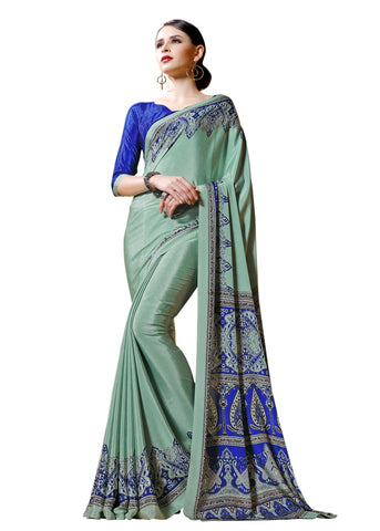 Blue Color Crepe Mix and  Match Saree  - divine-7601b