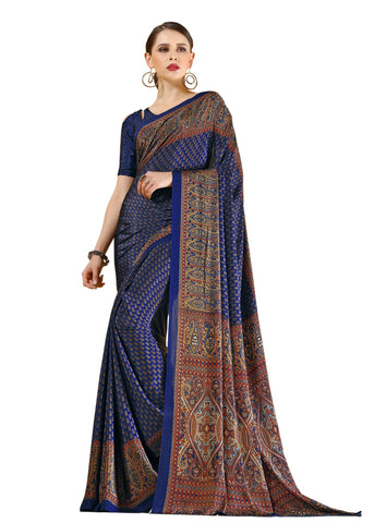 Blue Color Crepe Mix and  Match Saree  - divine-7602a